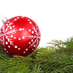 christmas_bauble_and_green_branches_187535